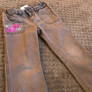 Brown pants with pink flowers